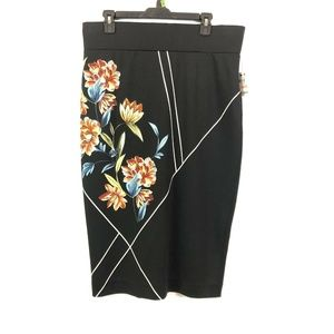 Alfani Skirts - Alfani 14W Black Orange Floral Pencil Skirt 2S67